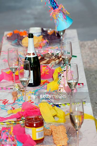 detail view of a messy table after a big party - messy table after party stock pictures, royalty-free photos & images