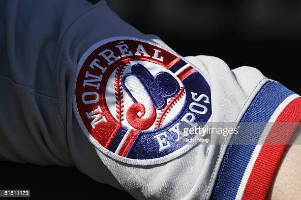 A detail view of a Montreal Expos patch showing their logo during the game between the New York Mets and Montreal Expos at Shea Stadium on October 3...