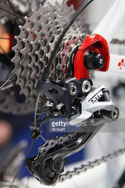 Detail view of a mountain bike rear derailleur on show at the London Bike Show at the ExCeL centre on January 13, 2011 in London, England. The...
