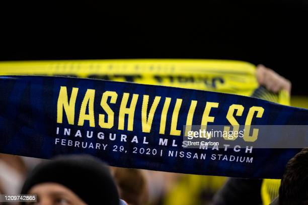 Detail view of a Nashville SC scarf held by a fan before the match against the Atlanta United at Nissan Stadium on February 29 2020 in Nashville...