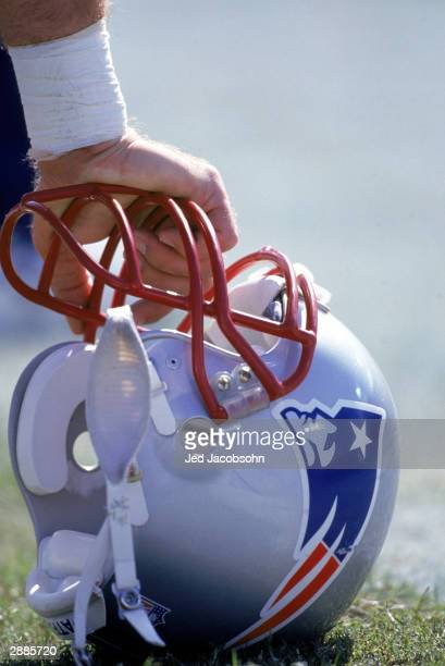 Detail view of a New England Patriots helmet during the game against the Baltimore Ravens at Memorial Stadium on October 6 1996 in Baltimore Maryland...