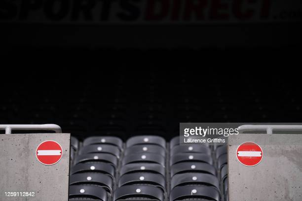 """Detail view of a """"no entry"""" sign in the stands during the Premier League match between Newcastle United and Liverpool FC at St. James Park on July..."""