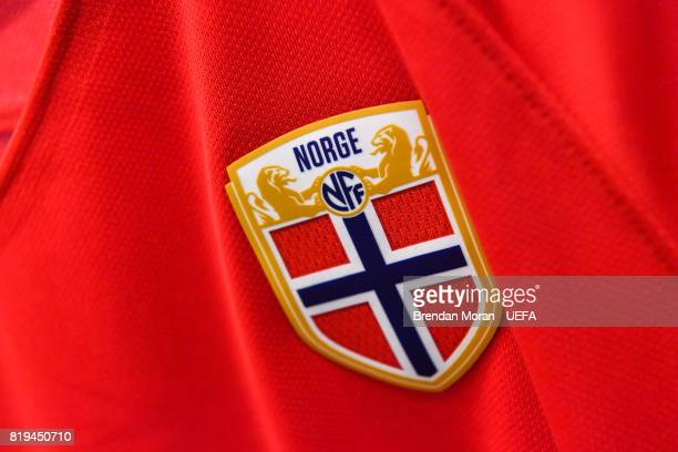 Detail view of a Norway crest on a jersey in the Norway dressingroom prior to the UEFA Women's EURO 2017 Group A match between Norway and Belgium at...