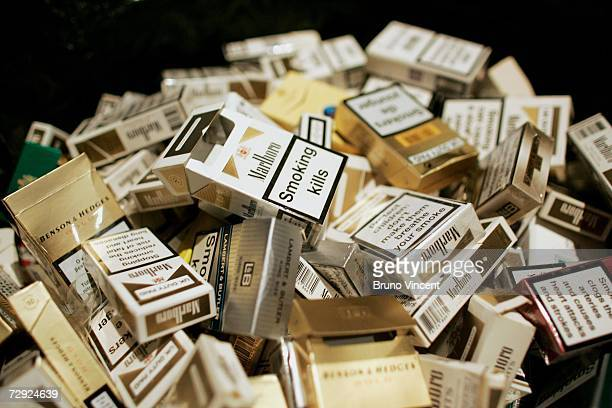A detail view of a pile of smoking materials at a photocall to mark the launch of Alan Carr's The easy way to stop smoking DVD on January 4 2007 in...