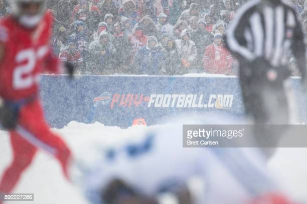 Detail view of a playfootballcom advertisement during the game between the Buffalo Bills and the Indianapolis Colts at New Era Field on December 10...