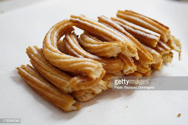 A detail view of a portion of 'churros' at Churreria Manueta in the early morning during the sixth day of the San Fermin Running Of The Bulls...
