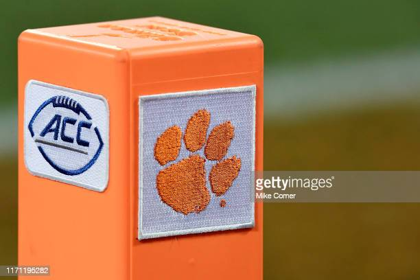 Detail view of a pylon with the ACC's and Clemson Tigers' logos during the Tigers' football game against the Georgia Tech Yellow Jackets at Memorial...
