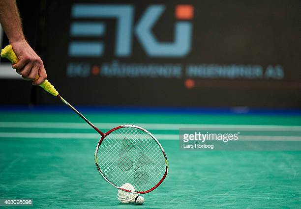 Detail view of a racket shuttlecock and a EKJ sign during the Finals at the Danish Badminton Championships at Frederiksberg Hallen on February 8 2015...