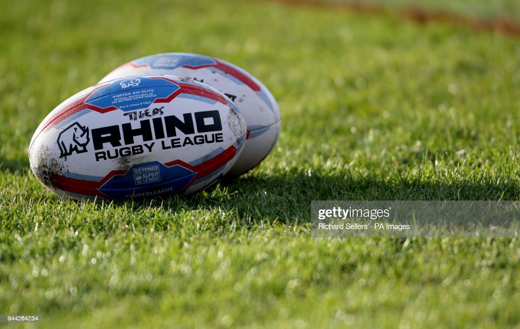 A detail view of a Rhino Super League ball