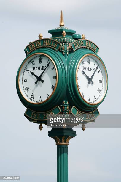 A detail view of a Rolex clock during a practice round prior to the 2017 US Open at Erin Hills on June 14 2017 in Hartford Wisconsin
