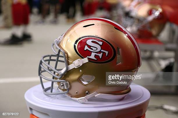 Detail view of a San Francisco 49ers helmet during the NFL football game against the Arizona Cardinals at University of Phoenix Stadium on November...