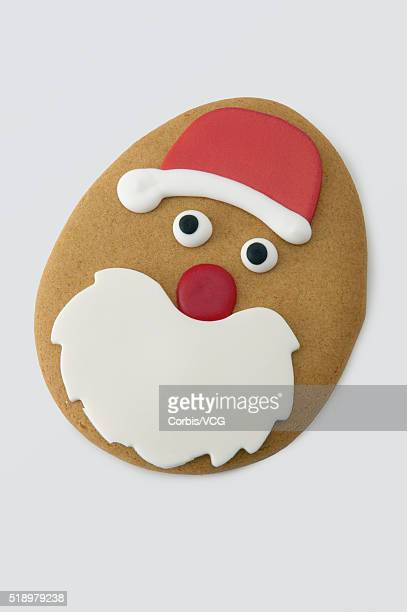 Detail view of a Santa Claus cookie