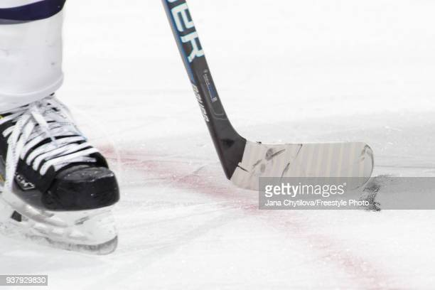 Detail view of a skate blade lying on the ice during a game between the Edmonton Oilers and the Ottawa Senators at Canadian Tire Centre on March 22...
