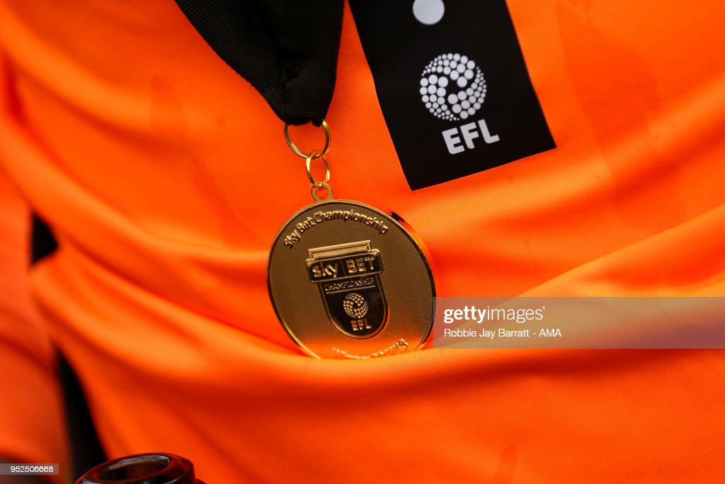 A detail view of a Sky Bet Championship winners medal during the Sky Bet Championship match between Wolverhampton Wanderers and Sheffield Wednesday at Molineux on April 28, 2018 in Wolverhampton, England.