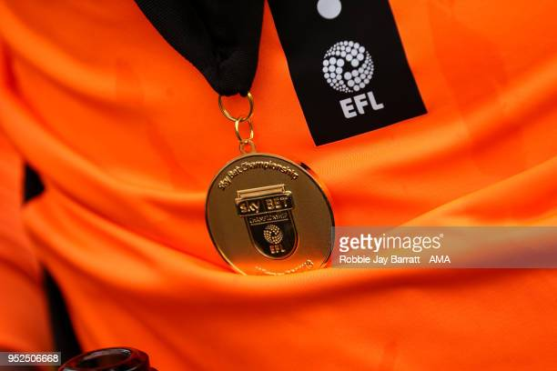 A detail view of a Sky Bet Championship winners medal during the Sky Bet Championship match between Wolverhampton Wanderers and Sheffield Wednesday...