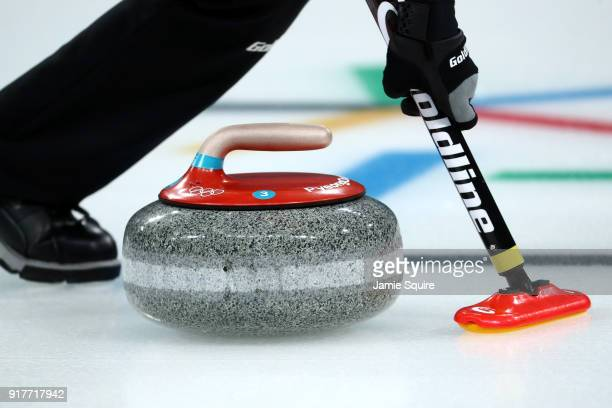 A detail view of a stone as it is delivered during the Curling Mixed Doubles Gold Medal Game between Canada and Switzerland on day four of the...