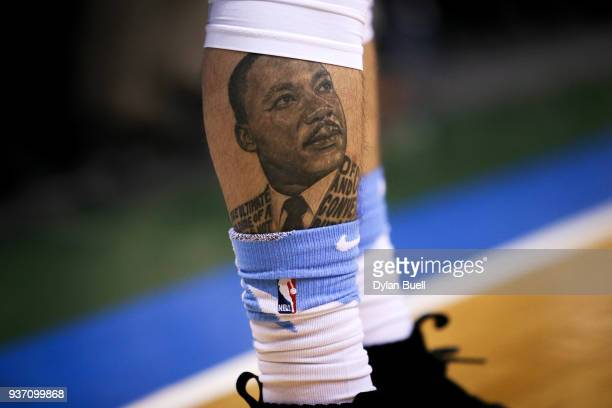 A detail view of a tattoo of Dr Martin Luther King Jr on the leg of Austin Rivers of the Los Angeles Clippers at the Bradley Center on March 21 2018...