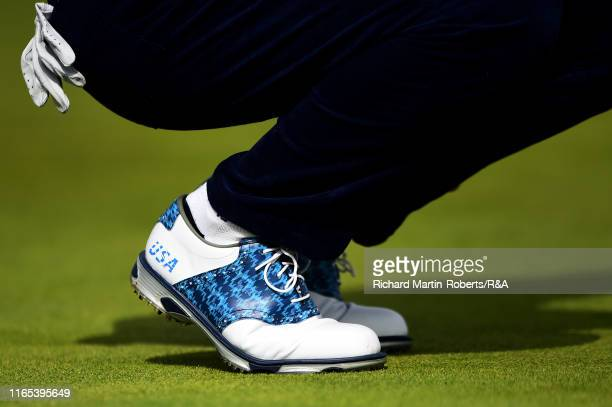 Detail View of a Team USA golf shoe during a practice round at Royal Birkdale Golf Club prior to the 2019 Walker Cup on September 1 2019 in Southport...