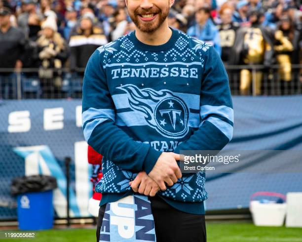 Detail view of a Tennessee Titans Christmas sweater worn by a male cheerleader during the game against the New Orleans Saints at Nissan Stadium on...