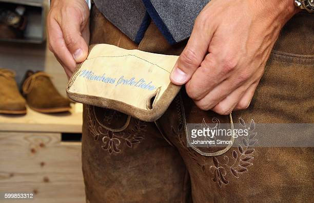 Detail view of a traditional Bavarian lederhosen during the TSV 1860 team fitting at the Angermeier store on September 7 2016 in Munich Germany