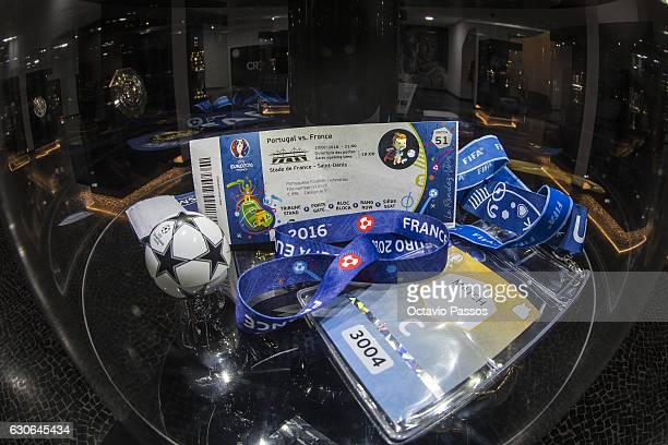 Detail view of a UEFA Euro 2016 final ticket for the match between Portugal and France at the CR7 Museum on December 29 2016 in Funchal Madeira...