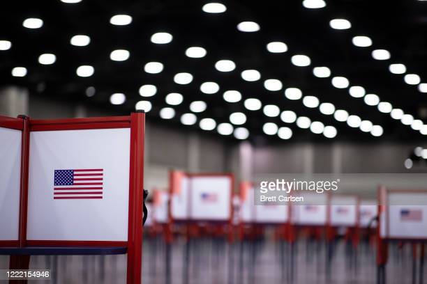 Detail view of a voting booth during Tuesdays Kentucky primary election on June 23, 2020 in Louisville, Kentucky. The Kentucky Exposition Center is...