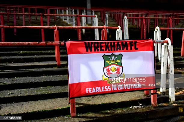 Detail View of a Wrexham flag during the FA Cup Second Round match between Wrexham and Newport County at the Racecourse Ground on December 1 2018 in...