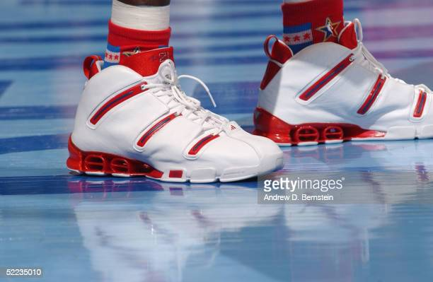 A detail view of adidas sneakers worn by Kevin Garnett of the Western Conference AllStars are seen in the 54th AllStar Game part of 2005 NBA AllStar...