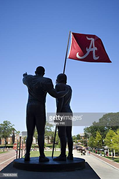 Detail view of Alabama Crimson Tide football statue over looking the campus before a game against the Arkansas Razorbacks at Bryant-Denny Stadium on...
