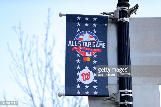 Detail view of AllStar Game signage outside the ballpark prior to the game between the New York Mets and the Washington Nationals at Nationals Park...