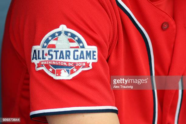 Detail view of an AllStar Game patch on a Washington Nationals uniform during the game between the Miami Marlins and the Washington Nationals on...