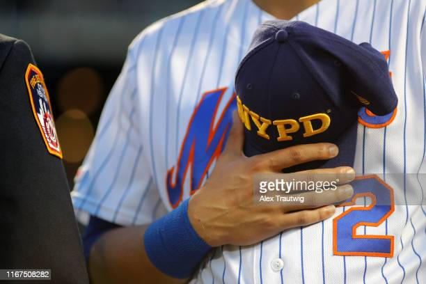 Detail view of an NYPD hat before the game between the Arizona Diamondbacks and the New York Mets at Citi Field on Wednesday, September 11, 2019 in...