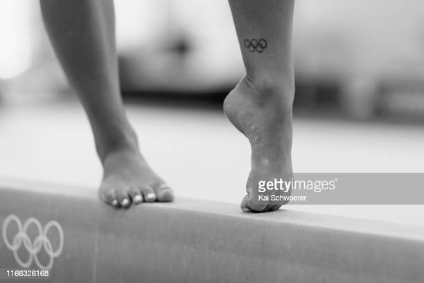 Detail view of an Olympics tattoo of New Zealand gymnast Courtney McGregor during a portrait session at Christchurch School of Gymnastics on August...