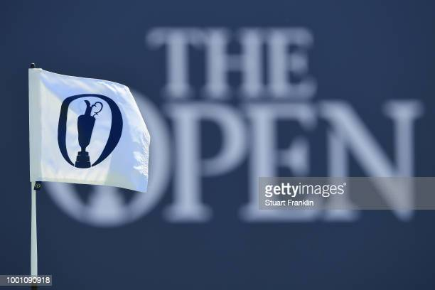 Detail View of an Open flag during previews to the 147th Open Championship at Carnoustie Golf Club on July 18 2018 in Carnoustie Scotland