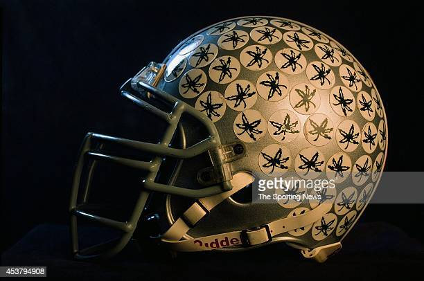 A detail view of Andy Katzenmoyer's helmet of the Ohio State Buckeyes on March 6 1997