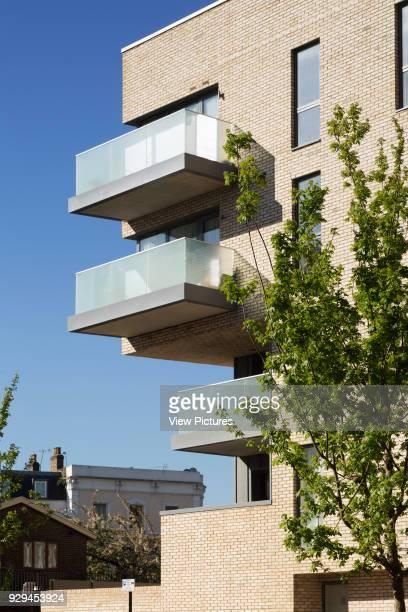 Detail view of balconies Hicks Bolton Bond Housing Scheme London United Kingdom Architect Rick Mather Architects 2015