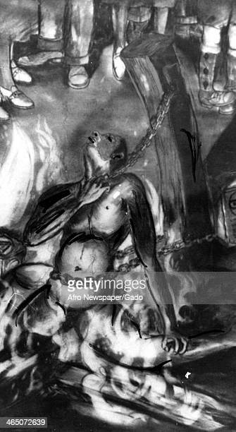 Detail view of 'Barbecue American Style' a painting by Allan Freelon depicting a mob burning an African American man tied to a stake during a...