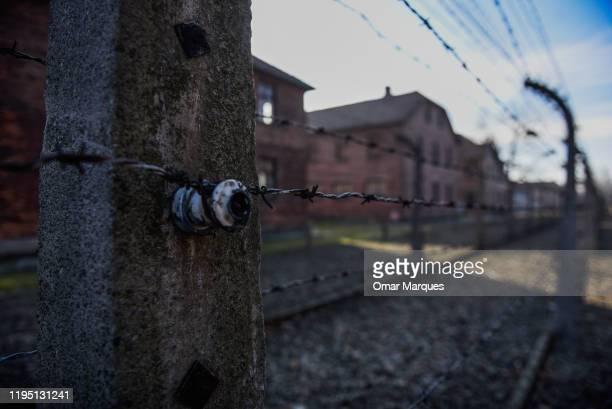 A detail view of barbed wire fence at the former Auschwitz concentration camp on January 21 2020 in Oswiecim Poland The European Jewish Association a...