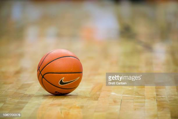 Detail view of basketball with Nike Swoosh logo on the court during the game between the Syracuse Orange and the Georgetown Hoyas at the Carrier Dome...
