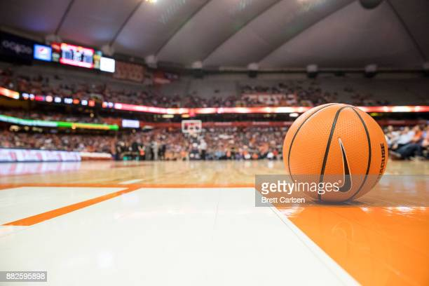 Detail view of basketball with Nike swoosh on the court during the game between the Syracuse Orange and the Maryland Terrapins at the Carrier Dome on...