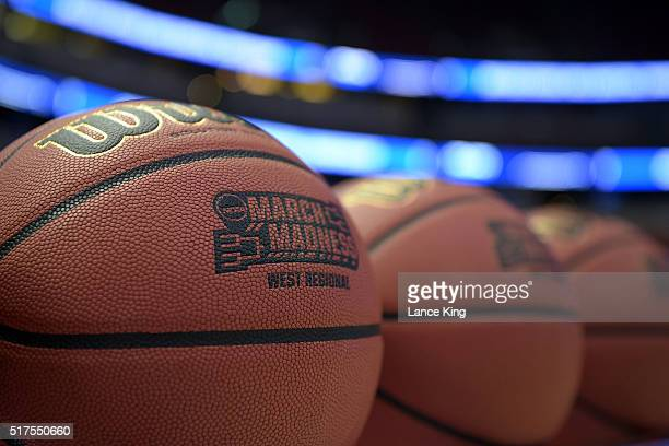 A detail view of basketballs with the NCAA's 'March Madness' logo during practice day of the West Regional Semifinal of the 2016 NCAA Men's...
