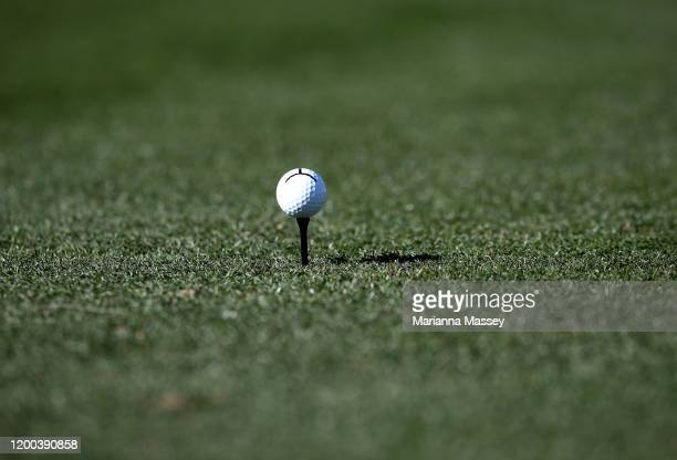 Detail view of Beau Hossler's ball before teeing off on the third hole during the third round of The American Express tournament at the Stadium...