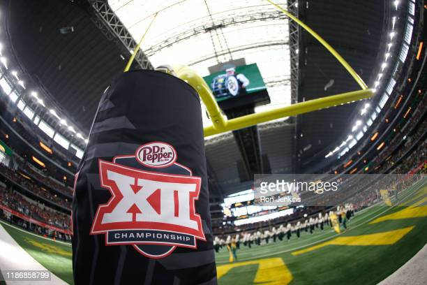 Detail view of Big 12 logo as the Baylor Bears band plays on the field before Baylor plays the Oklahoma Sooners in the Big 12 Football Championship...