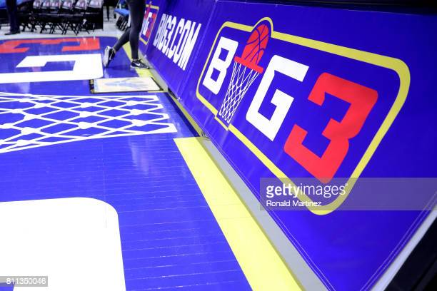 A detail view of BIG3 logos during week three of the BIG3 three on three basketball league at BOK Center on July 9 2017 in Tulsa Oklahoma