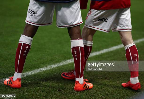 Detail view of Bristol City players socks during the Emirates FA Cup Third Round match between Watford and Bristol City at Vicarage Road on January 6...