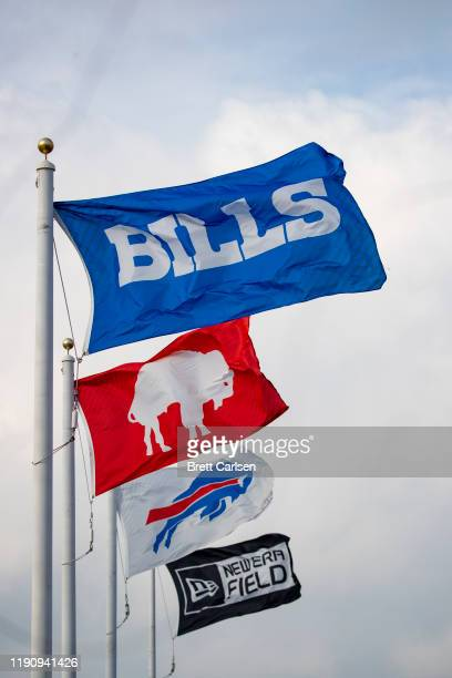 Detail view of Buffalo Bills flags waving on the upper deck at New Era Field during the first quarter against the Denver Broncos on November 24 2019...