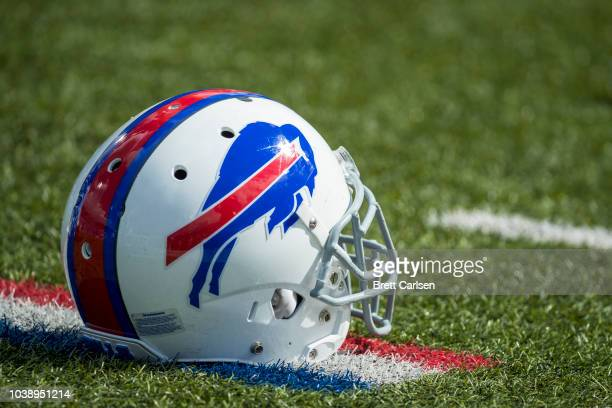 Detail view of Buffalo Bills helmet on the field before the game against the Los Angeles Chargers at New Era Field on September 16 2018 in Orchard...