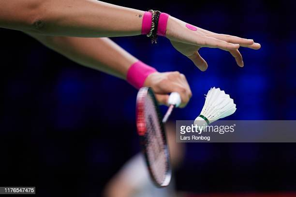 Detail view of Carolina Marin of Spain in action during the 1/4 finals on day four of the DANISA Denmark Open Badminton World Tour Super 750...