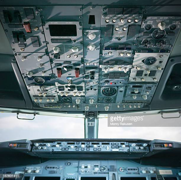 Detail view of cockpit of a jet engine of airplane