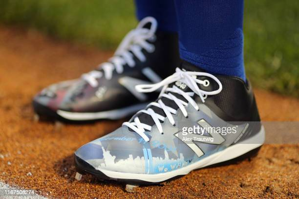 Detail view of custom cleats before the game between the Arizona Diamondbacks and the New York Mets at Citi Field on Wednesday September 11 2019 in...
